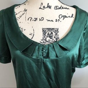 48e97c5a66015 Elie Tahari Tops - Elie Tahari Forest Green Pleated Silk Top Blouse